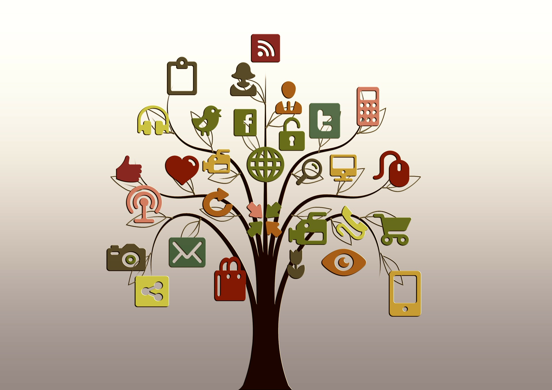 social media customer service concept image with social media logos hanging from a tree
